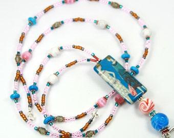 UPTOWN -Beaded badge Holder, Beaded lanyard, Girly Lanyard, Colorful Lanyard, Vintage Badge Holder