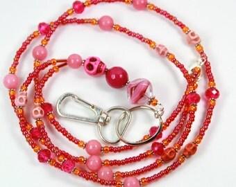 PINK SKULL - Beaded badge holder, Beaded Lanyard, Pink skull lanyard