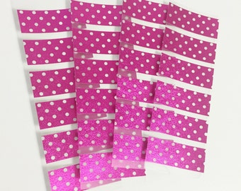 24 Individual Samples Set of 4 Pink Foil Polka Dots Sample Sheets of Washi Tape Washi Samples Erin Condron Planner ECLP Size Cut Sample