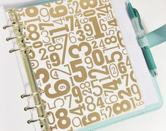 A5 Size Gold Foil Numbers Laminated Dashboard Filofax Large Kikki k Planner