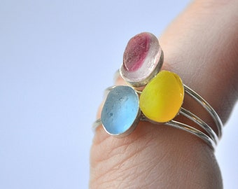 Size 6 Stack able Sterling Silver Seaglass Rings Yellow,or Blue or Pink