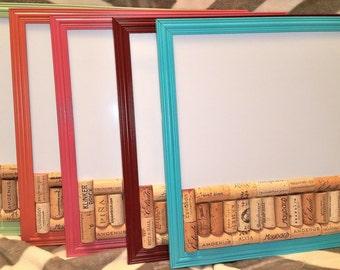 Sale Framed Repurposed Wine Cork Corkboard and Dry Erase Board