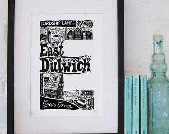 Best of East Dulwich - London print - London poster - London Art - Typographic Print - London illustration - letter art - South London