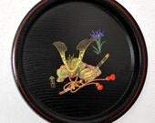 SALE 25%OFF Nobunaga Japanese Lacquer Tray, Round Black Plate, Antiques Asian Art Painting, Samurai Gifts for Him Wood Chinoiserie