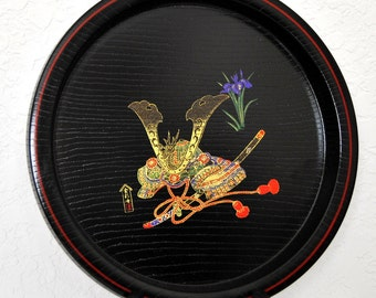 Nobunaga Japanese Lacquer Tray, Round Black Plate, Antiques Asian Art Painting, Samurai Gifts for Him Wood Chinoiserie