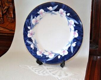 YUMI KATSURA Plate Cobalt Japanese Teapot Stand Blue White Floral Fine China Asian Kitchen Serving Dish Tidbit Platter Designer Gift for her