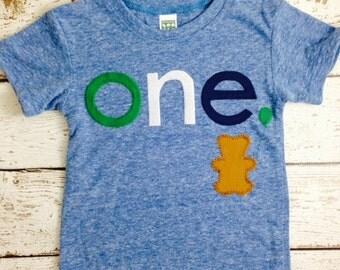 Teddy Bear birthday shirt Customize colors Boys Girls Organic Blend Birthday Tee first second kid's t-shirt