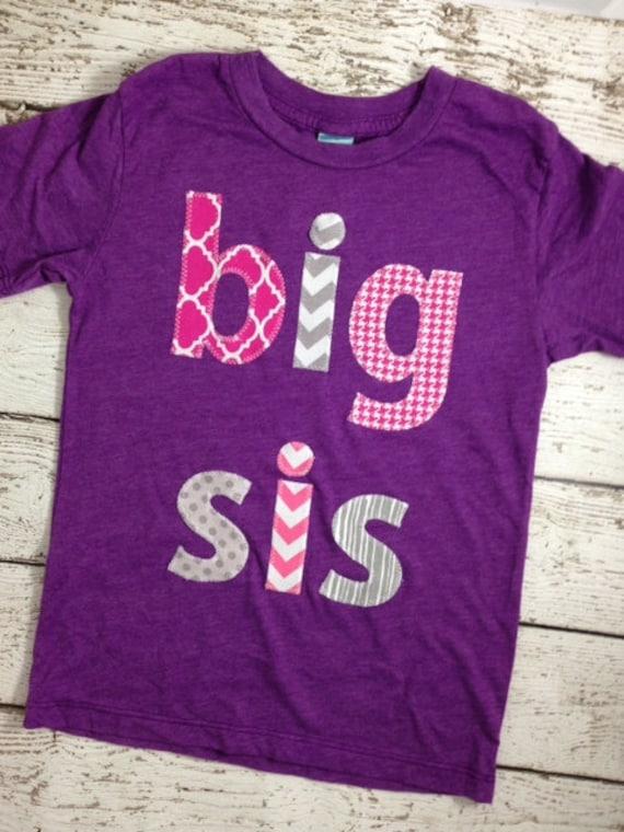 Big sister big sis sibling shirt little sister big brother for Big sister birth announcement shirts