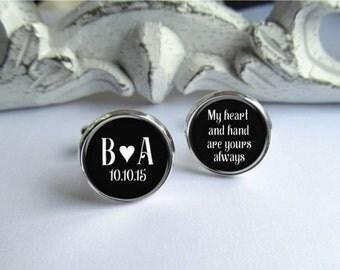 Custom Cufflinks, Personalized Groom Cufflinks, Wedding Cufflinks