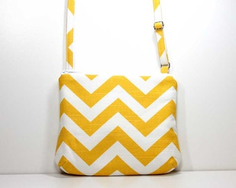 Yellow and White Chevron Small Zipper Crossbody Bag Small Shoulder Purse Sling Bag Cross Body Bag - Ready to Ship