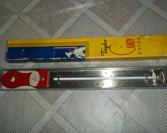 Vintage Taylor Candy Guide Thermometer farmhouse kitchen utensil & orig box, great graphics Good Housekeeping Sealpod..Reduced..WAS 11.99