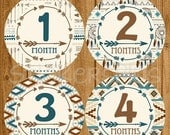 SALE Baby Boy Month Stickers Milestone Monthly Newborn Photo One Piece Bodysuit Number Age Tribal Arrow Aztec Dreamcatcher Blue Brown Sticke