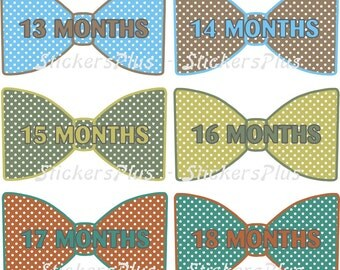 Baby Month Stickers Second Year 13 to 24 Monthly Baby Boy Bow Tie Bowtie Stickers Baby Age Milestone Stickers Dots Mixed Colors