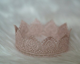 Newborn Crown, Sweetest Hand Painted Pink Little Heart Lace Crown, Newborn Photography Prop, Baby Crown, Infant Crown, Pink