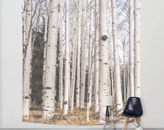 Tall Birch Trees Wall Tapestry, Forest Tapestry, Arizona Wall Tapestry, Mountain Scene Wall Hanging, White Decor, Tree Tapestry