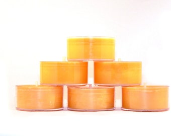 Orange Blossom Soy Tea Light Candles - Set of 6 - Scented Handmade Hand-Poured Vegan Soy Wax Candle Tealights