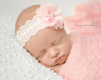 Pink Lace Chiffon Flower Headband, Baby Headband, Infant Headband