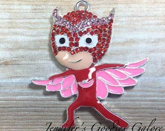 43*42mm, PJ Mask Pendant, Owlette Rhinestone Pendant, PJ Masks, Owl, Amaya, Chunky Bead Necklace, Chunky Necklace, PJ Mask Necklace