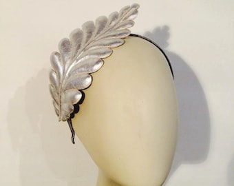 Headpiece Silver leather leaf