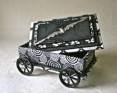 Batmobile Handmade Gift Box on Wheels with Silver Flying Bat for Home or Office Decor