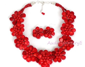 Red coral necklace with Earrings set  Coral choker  Cluster necklace Red necklace  Coral jewelry  gifts for women wedding gift