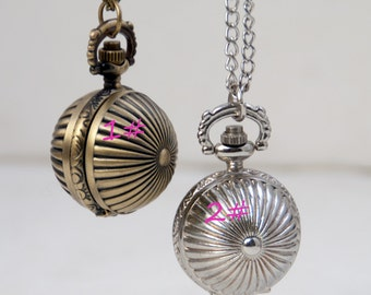 1pcs Watch Charms Pendant with chain Pumpkin pocket watch necklace Children's gifts, Christmas gifts