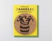 Barrels of Bday Fun - coaster card
