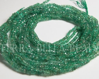 "8"" half strand natural ZAMBIAN EMERALD faceted rondelle beads 2mm - 3.5mm GREEN"