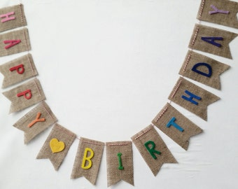 Happy Birthday Banner on Burlap with Rainbow Felt Letters with Baker's Twine