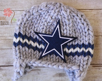 Cowboys Knit Sports Earflap Football Team Beanie, Newborn Photography Prop, Dallas Cowboys Newborn Baby Hat in Gray and Blue