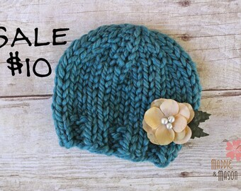FLASH SALE Wooly Knit Flower Beanie, Newborn Photography Prop, Thunder Teal with REMOVABLE Cream Tan Flower Clip
