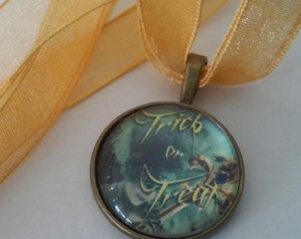 Trick or Treat Golden Ribbon Halloween Necklace