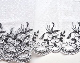 Black and White Floral Lace Trim, Black and White Lace, BW Polka Dot Trim, Veils, Lingerie, Lace Clothing, Professional Costume, Fancy Lace