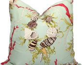 Decorative Pillow Cover in Brunschwig and  Fils Aphrodites Treasure Square or Lumbar pillow, Accent cushion, Throw pillow, Seashell pillow