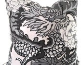 Smoke Schumacher Chiang Mai Decorative Pillow Cover with Dragon Face 18x18, 20x20 or 22x22, throw pillow, accent pillow