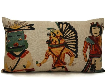 Kachina Doll Decorative Pillow Cover 14x22 toss pillow, accent pillow, throw pillow, botanical pillow cover