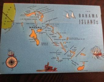 Vintage Nassau Bahamas Souvenir Folder Tichnor 1940s Travel Color Pictures Cityscapes Nature Landmarks Paper Ephemera Tourism