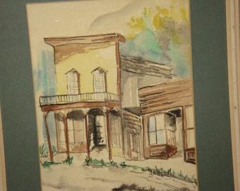 Vintage Watercolor Painting Framed Wakefield