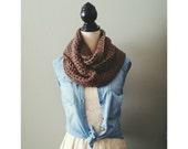 Crochet Infinity Scarf in Barley Brown Crochet Scarf Fall Winter Fashion Accessory