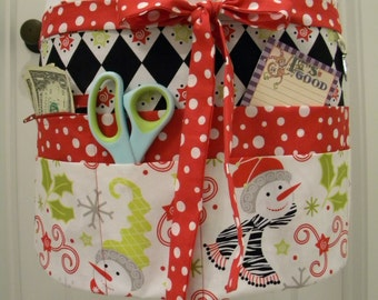 Teacher Crafter Vendor Utility Apron-Christmas S'Noel