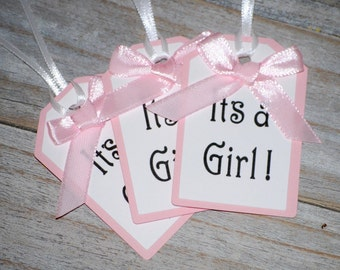 Its A Girl Favor Gift Tags Set of 20, Baby Shower Tags, White and Pink Baby Shower Tags