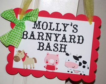 On The Farm Birthday Party Door Sign, Farm Party Sign, Barn Party Sign