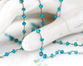 Aqua Blue Glass Beads - Long Flapper Girl Necklace