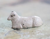 Antique Sleeping Sheep - Iron Cast Farm Lead Toy - Made in England