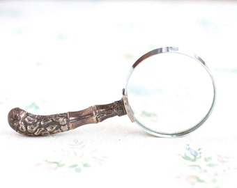 Magnifying Glass With Silver Plated Handle - Gothic Reading Aid - Antique