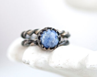 Victorian Blue Ring - Antique Gothic Dark Sterling Silver and Speckled Stone - Size 5.5
