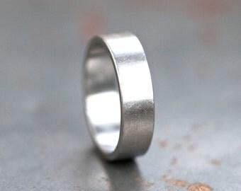 Brushed Steel Wedding Band Ring - Size 9