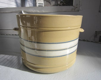 Yellow Ware handled crock