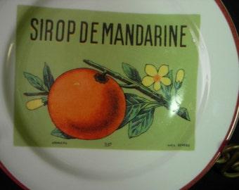 """Williams Sonoma ROSANNA Mandarine Orange Fruit Crate Label 5-3/4"""" Dessert Plates - Set of 2"""