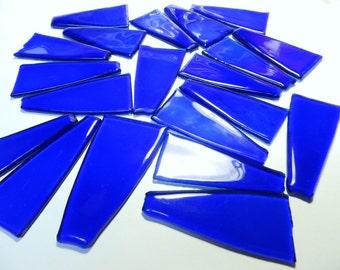 Dark Blue Transparent Glass Kiln Formed for Mosaics 20 Pieces (846)